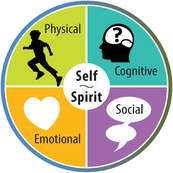 Graphic for student wellbeing (4 quadrants labeled as physical, emotional, social and cognitive with a central area labeled spirit and self)