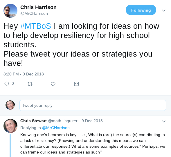 Tweet by Chris Harrison to #MTBoS